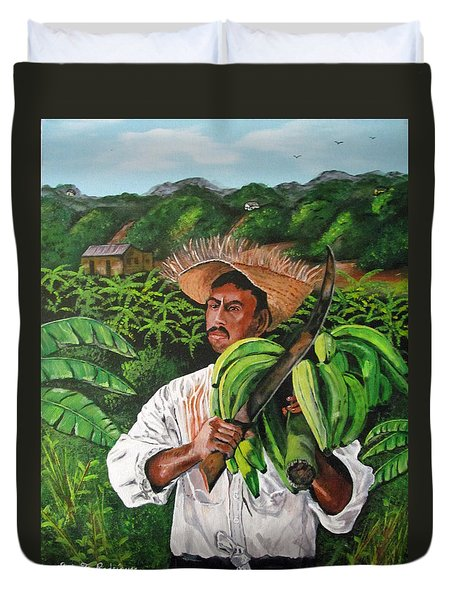 Platano Man Duvet Cover by Luis F Rodriguez