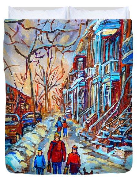 Plateau Montreal Street Scene Duvet Cover