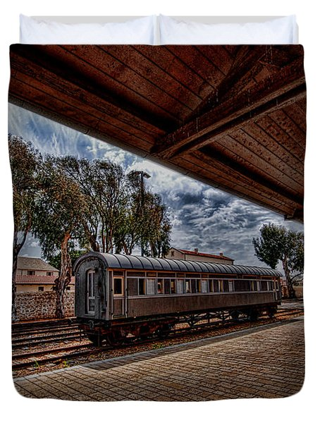 platform view of the first railway station of Tel Aviv Duvet Cover by Ron Shoshani