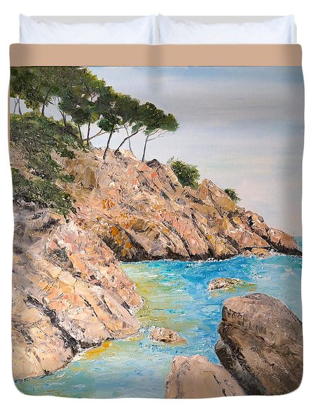 Duvet Cover featuring the painting Playa De Aro by Marilyn Zalatan