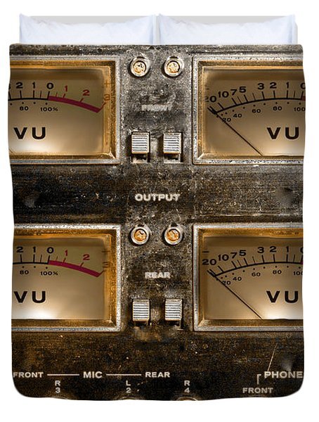 Duvet Cover featuring the photograph Playback Recording Vu Meters Grunge by Gunter Nezhoda