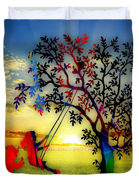 Playful At Sunset Duvet Cover