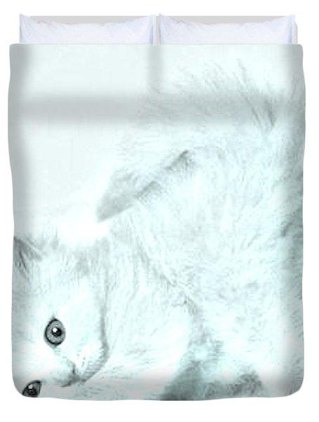 Playful Kitty Duvet Cover by J D Owen