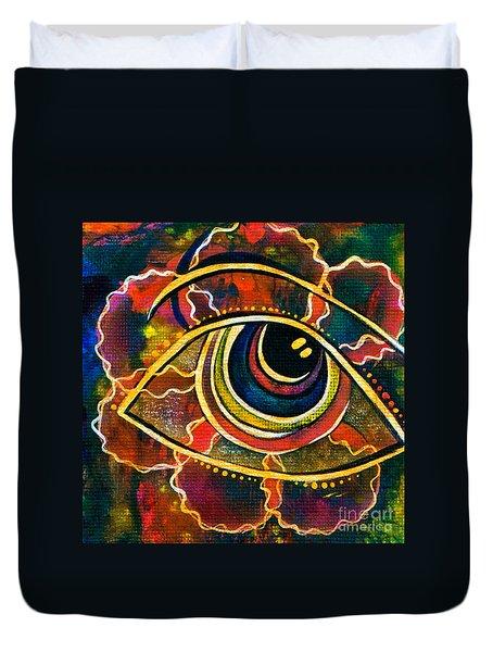 Duvet Cover featuring the painting Playful Spirit Eye by Deborha Kerr