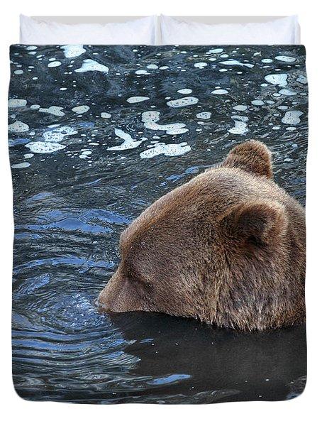 Playful Submerged Bear Duvet Cover