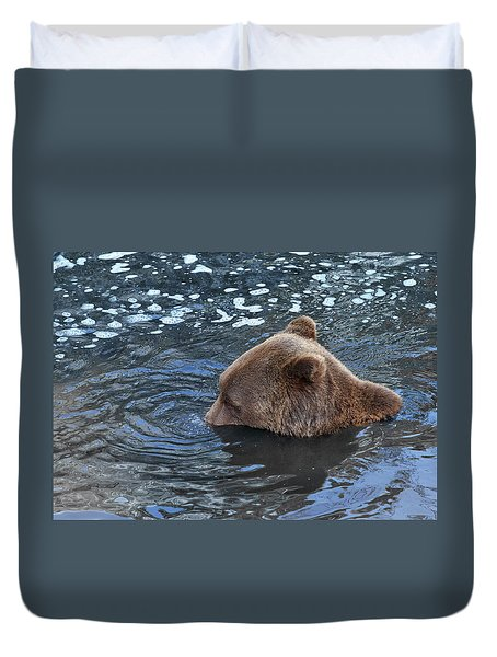Playful Submerged Bear Duvet Cover