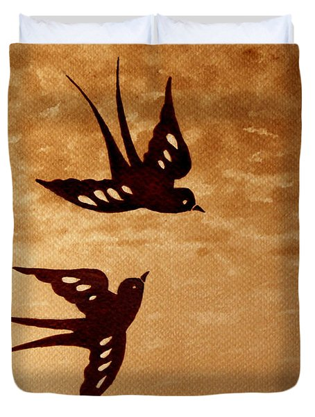 Duvet Cover featuring the painting Playful Swallows Original Coffee Painting by Georgeta  Blanaru
