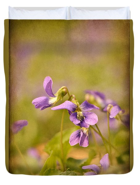 Playful Wild Violets Duvet Cover by Lois Bryan