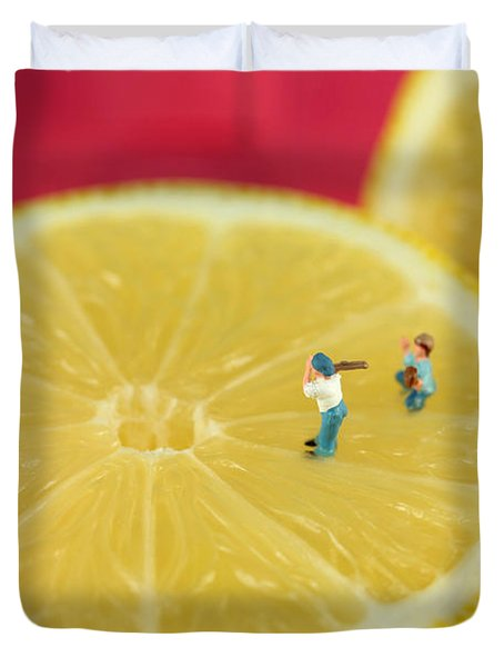 Playing Baseball On Lemon Duvet Cover