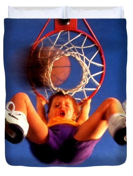 Playing Basketball Duvet Cover by Lanjee Chee