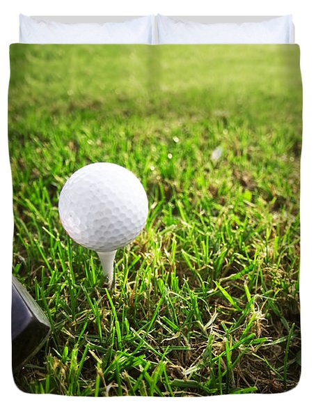 Playing Golf. Club And Ball On Tee Duvet Cover by Michal Bednarek