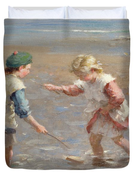 Playing In The Shallows Duvet Cover by William Marshall Brown