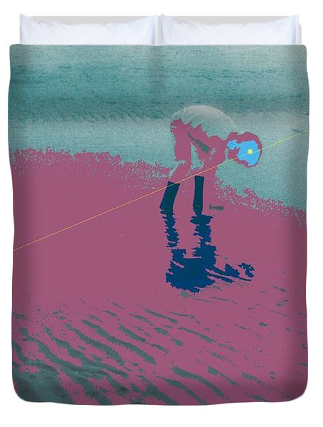Duvet Cover featuring the photograph Playing In Tide Water 2a by Lyle Crump