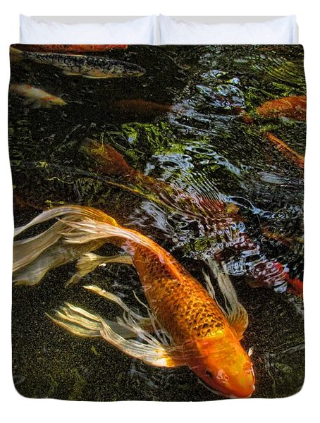 Playing Koi With Me Duvet Cover by Shannon Story