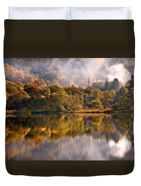 Playing Mirror. Loch Achray. Scotland Duvet Cover by Jenny Rainbow
