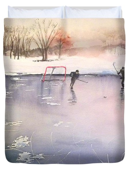 Playing On Ice Duvet Cover