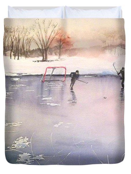 Playing On Ice Duvet Cover by Yoshiko Mishina