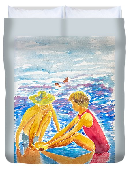 Playing On The Beach Duvet Cover