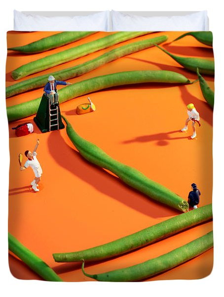 Playing Tennis Among French Beans Little People On Food Duvet Cover