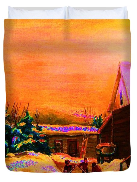 Playing Until The Sun Sets Duvet Cover by Carole Spandau
