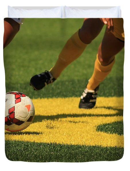 Plays On The Ball Duvet Cover by Laddie Halupa