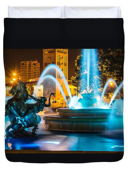 Plaza Blue Fountain Duvet Cover