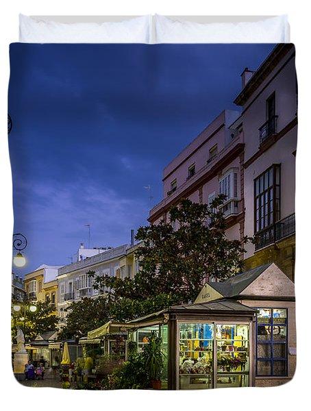 Plaza De Las Flores Cadiz Spain Duvet Cover