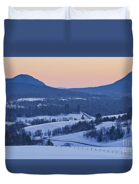 Pleasant Valley Winter Twilight Duvet Cover