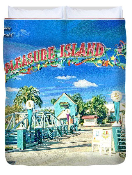 Pleasure Island Sign And Walkway Downtown Disney Duvet Cover