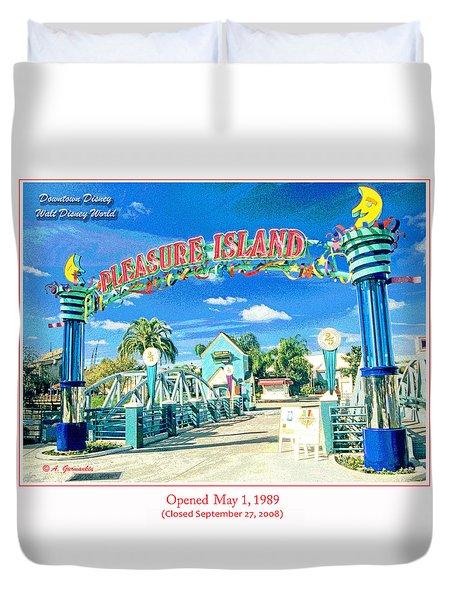 Pleasure Island Sign And Walkway Downtown Disney Duvet Cover