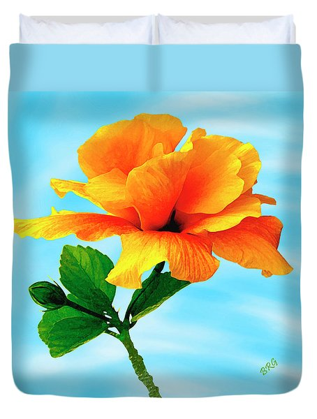 Pleasure - Yellow Double Hibiscus Duvet Cover by Ben and Raisa Gertsberg