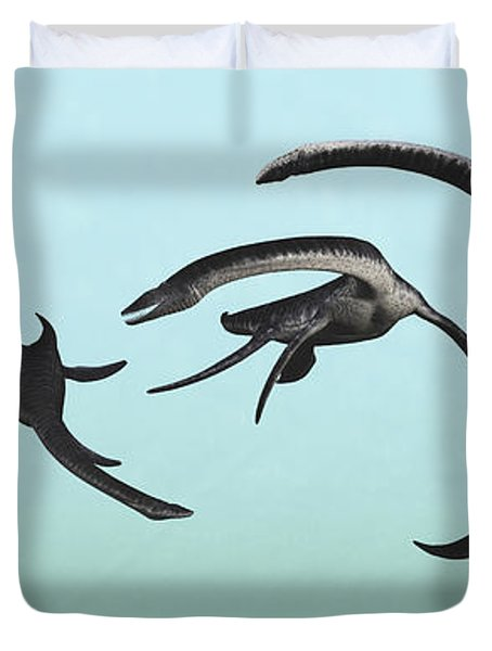 Plesiosaurs Gather At Their Underwater Duvet Cover
