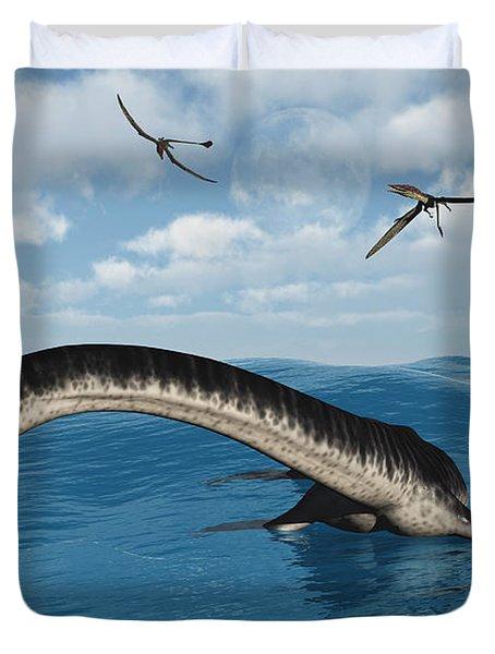 Plesiosaurs In Their Marine Habitat Duvet Cover