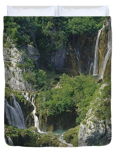 Plitvice Lakes In Croatia Duvet Cover by Rudi Prott