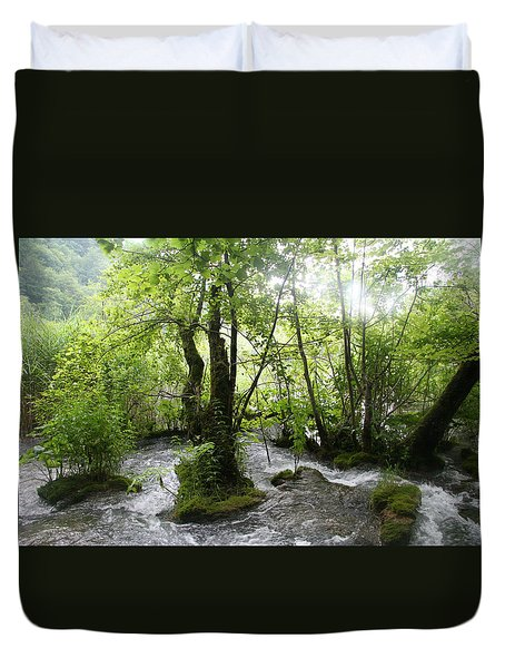 Duvet Cover featuring the photograph Plitvice Lakes by Travel Pics