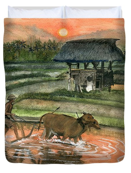 Plowing The Ricefield Duvet Cover