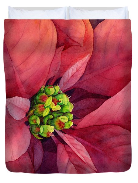 Plum Poinsettia Duvet Cover