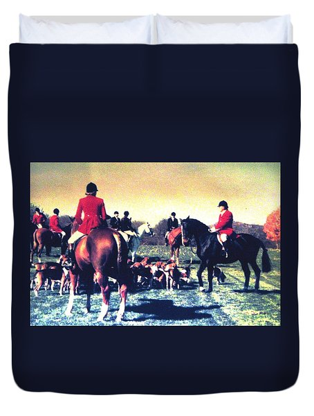 Duvet Cover featuring the photograph Plum Run Hunt Opening Day by Angela Davies
