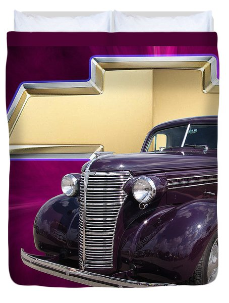 Plumb Crazy Chevy Squared Duvet Cover by Chris Thomas