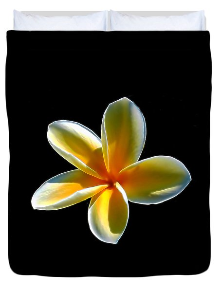 Plumeria Against Black Duvet Cover by Pamela Walton