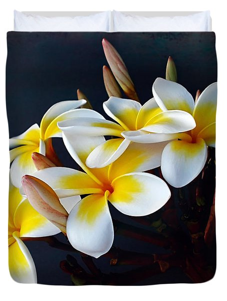 Plumeria Bouquet 2 Duvet Cover by Kaye Menner