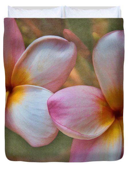 Plumeria Pair Duvet Cover by Peggy Hughes
