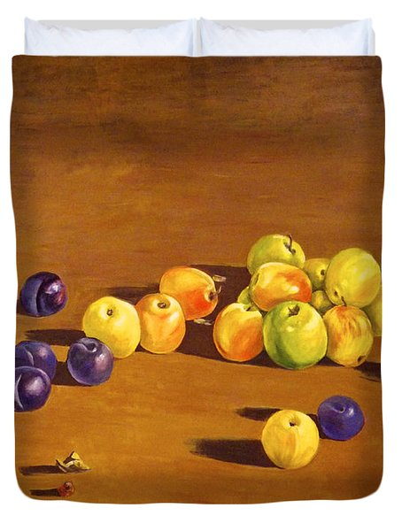 Plums And Apples Still Life Duvet Cover