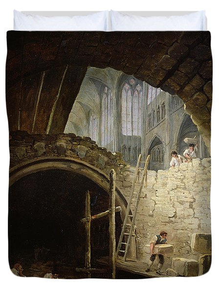 Plundering The Royal Vaults At St. Denis In October 1793 Oil On Canvas Duvet Cover