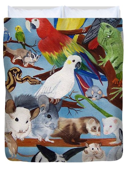 Pocket Pets Duvet Cover by Debbie LaFrance