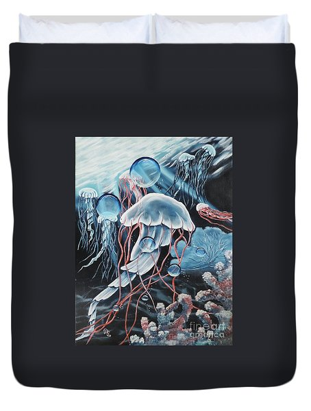 Duvet Cover featuring the painting Poetry In Motion by Dianna Lewis