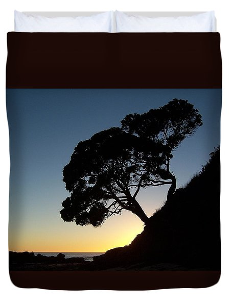 Pohutukawa Trees At Sunrise Duvet Cover