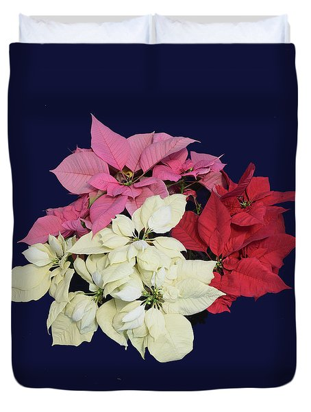 Duvet Cover featuring the photograph Poinsettia Tricolor II by R  Allen Swezey