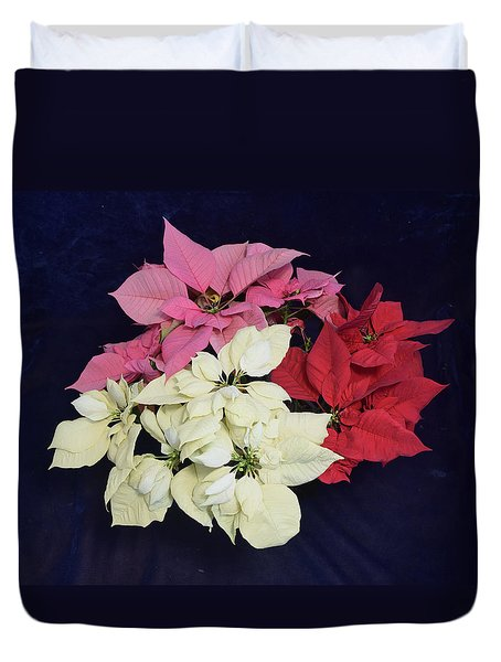 Poinsettia Tricolor Duvet Cover