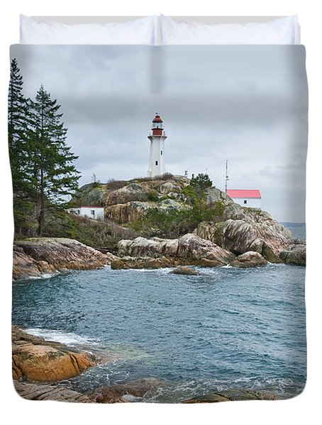 Duvet Cover featuring the photograph Point Atkinson Lighthouse And Rocky Shore by Jeff Goulden